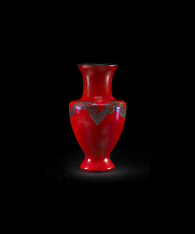 Tiffany Studios: Decorated Red Baluster Form Vase