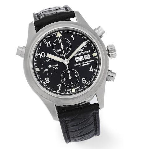 IWC. A stainless steel automatic calendar split second chronograph wristwatch
