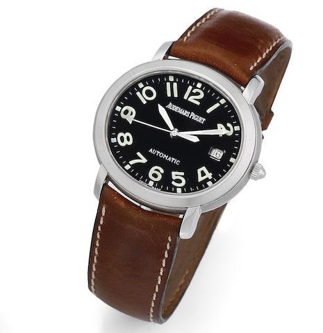 A stainless steel automatic calendar wristwatch