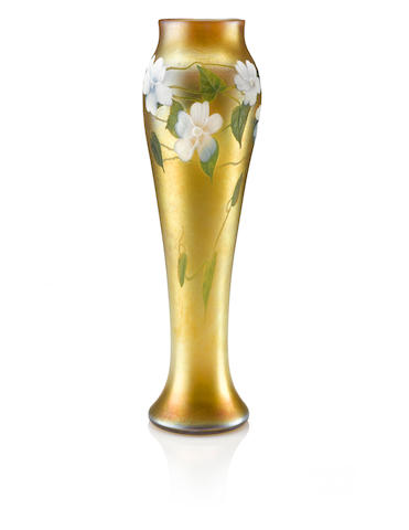 Tiffany Studios: A Tall and Elongated Baluster Form Vase