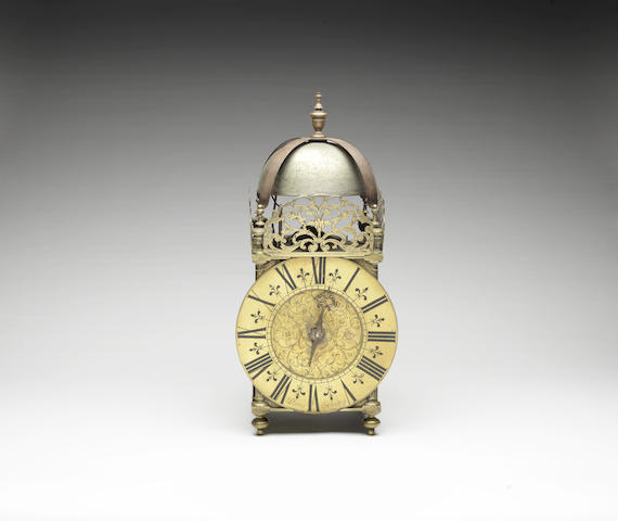 An exceptionally large and rare late 17th century brass Chamber clock