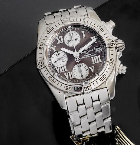 Breitling. A stainless steel automatic calendar chronograph bracelet watch