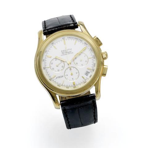Zenith. An 18K gold automatic calendar chronograph wristwatch