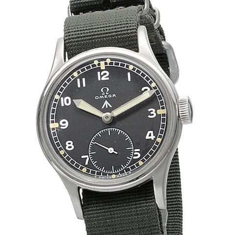 Omega. A military issue stainless steel manual wind wristwatch