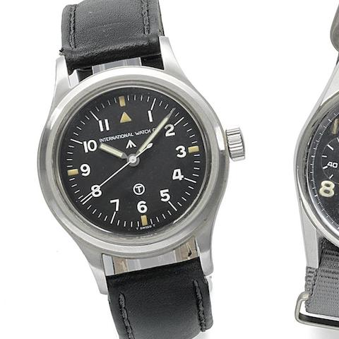 International Watch Company. A military issue stainless steel manual wind wristwatch