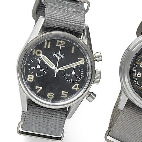 Heuer. A military stainless steel manual wind chronograph wristwatch