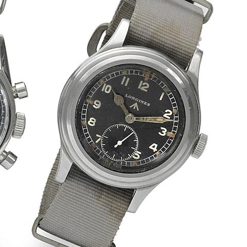 Longines. A military issue stainless steel manual wind wristwatch