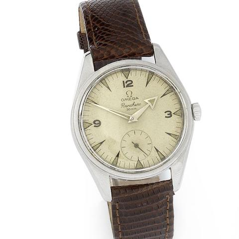 Omega. A stainless steel manual wind wristwatch