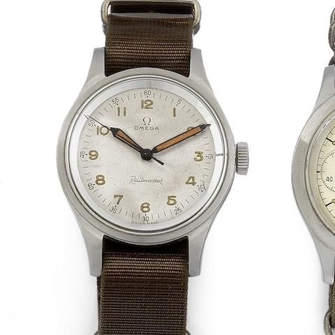 Omega. A stainless steel manual wind wristwatch with rare white dial