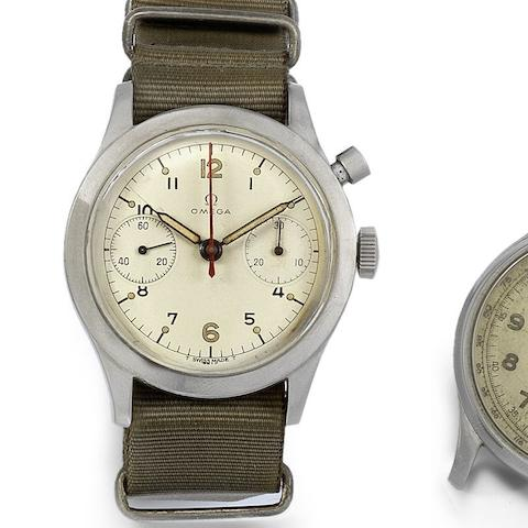 Omega. A military stainless steel manual wind single button chronograph wristwatch for the Canadian Airforce