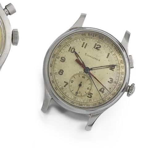 Longines. A stainless steel manual wind wristwatch with flyback seconds and minutes