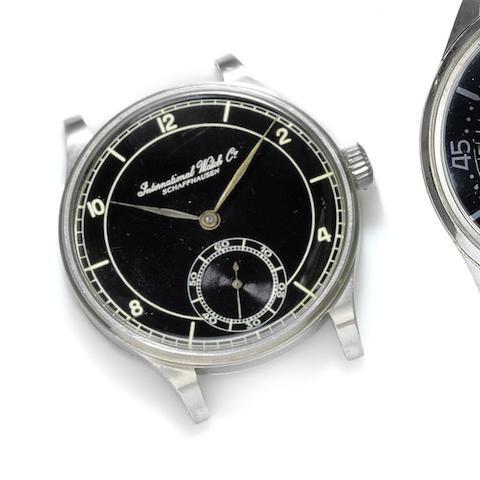 IWC. A stainless steel manual wind watch head
