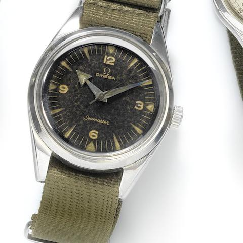 Omega. A military stainless steel manual wind wristwatch for the Pakistan Airforce