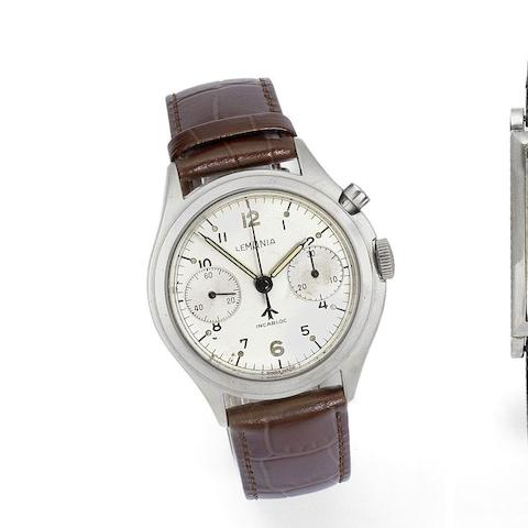 Lemania. A military stainless steel manual wind single button chronograph for the Royal Australian Navy