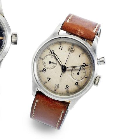 Lemania. A military stainless steel manual wind single button chronograph wristwatch for Royal Australian Navy