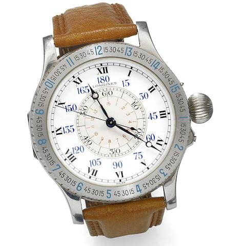 Longines. A stainless steel manual wind hour angle wristwatch