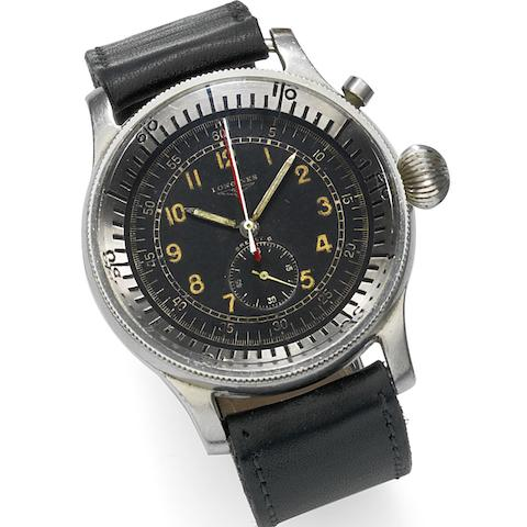 Longines. A military stainless steel manual wind single button chronograph wristwatch for the Israeli Airforce