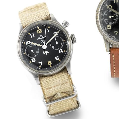 Lemania. A military stainless steel manual wind single button chronograph wristwatch