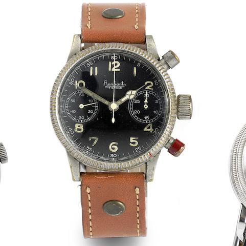 Hanhart. A military nickel plated manual wind chronograph wristwatch for German bomber pilots