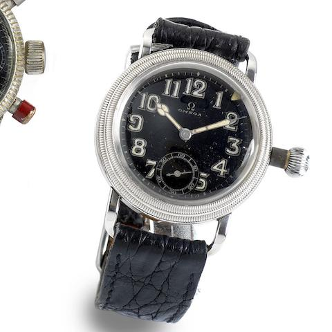 Omega. A military stainless steel manual wind wristwatch