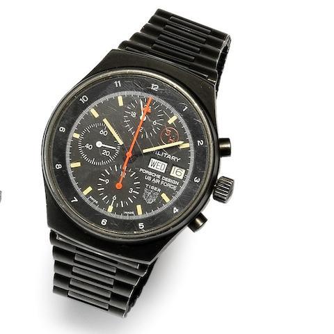 Orfina for Porsche Design. A black PVD coated automatic calendar chronograph bracelet watch