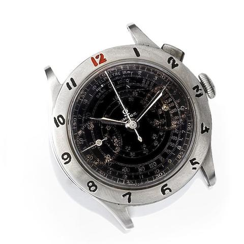 Omega. A stainless steel manual wind single button chronograph wristwatch
