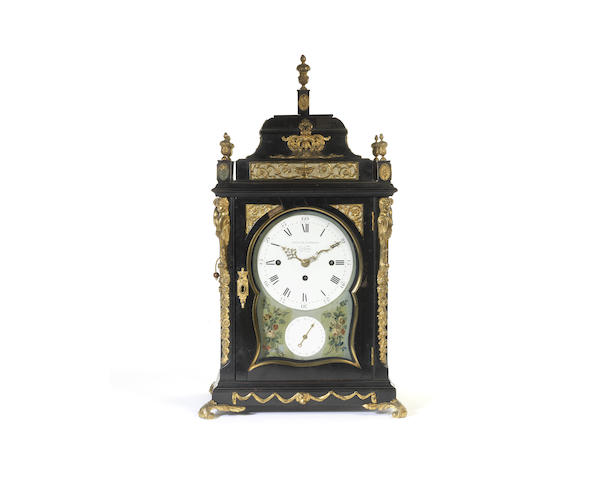 A late 18th century quarter chiming table clock