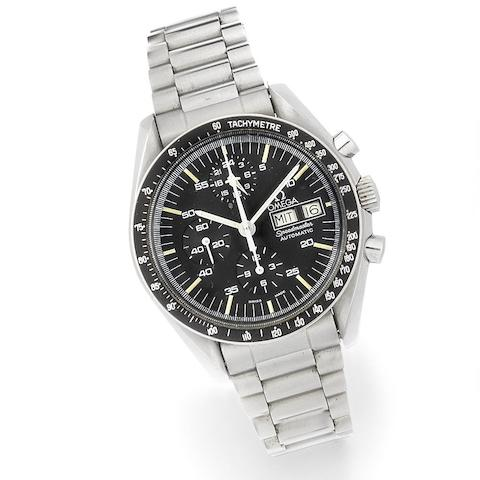 Omega. A stainless steel automatic calendar chronograph bracelet watch