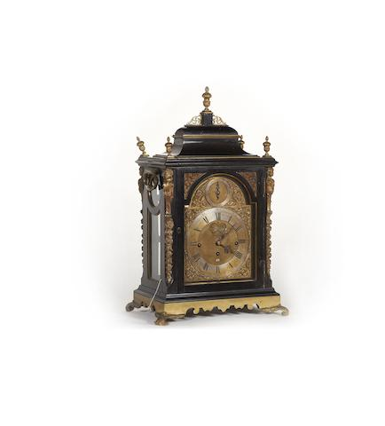 A fine mid 18th century brass mounted ebonised quarter chiming table clock