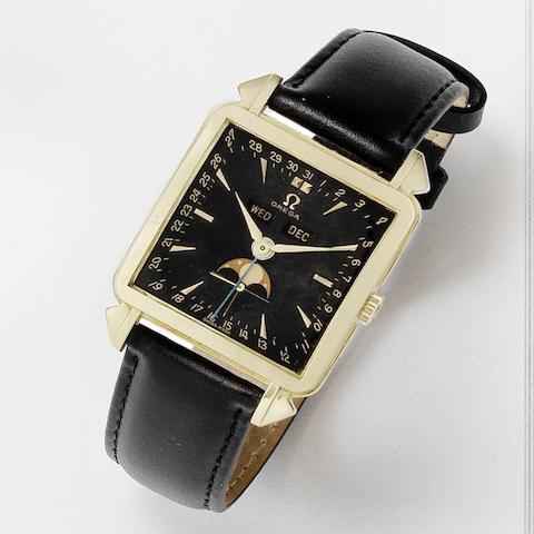 Omega. A fine and rare 18k gold manual wind calendar wristwatch with moon phase