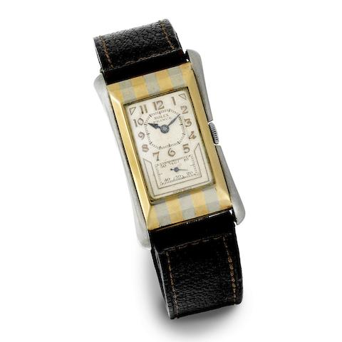 Rolex. A fine 9K two colour gold manual wind rectangular wristwatch with original Rolex box and rating Certificate