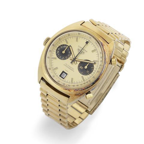 Heuer. A fine 18k gold automatic calendar chronograph bracelet watch