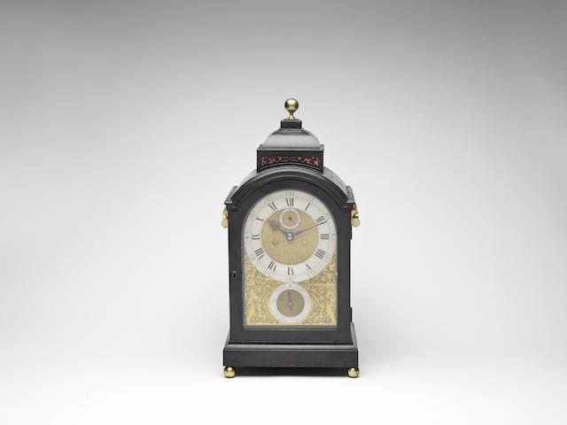 A rare mid 18th century ebonised table clock