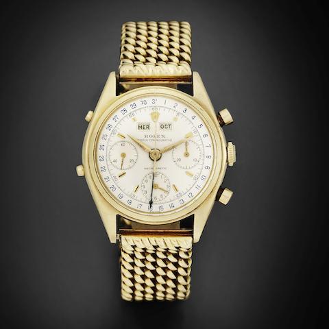 Rolex. A fine and rare 18K gold manual wind 'Jean Claude Killy' triple calendar chronograph bracelet watch