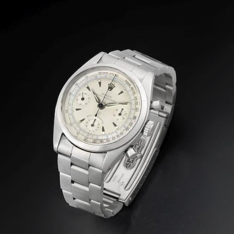 Rolex. A stainless steel manual wind chronograph bracelet watch