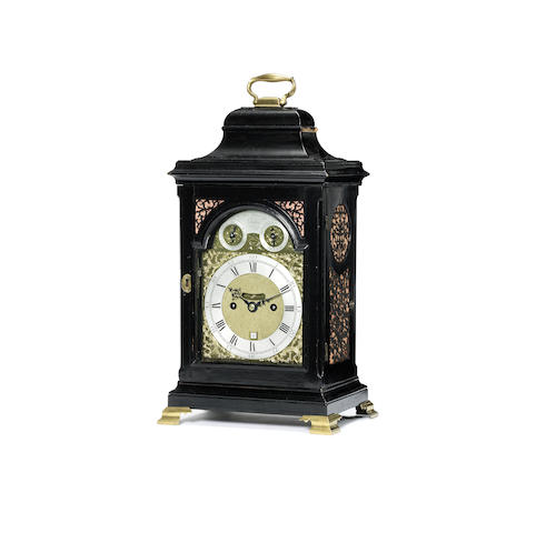 A good mid 18th century ebonised quarter repeating table clock
