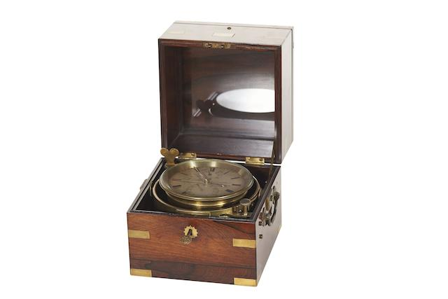 A fine and rare mid 19th century rosewood eight day marine chronometer