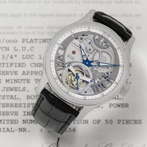 Chopard. A limited edition platinum skeletonised tourbillon wristwatch with power reserve