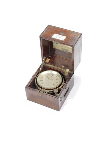 A late 19th century two-day brass-inlaid mahogany marine chronometer