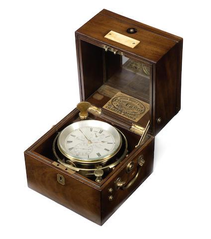 A rare mid 19th century mahogany cased two day marine chronometer