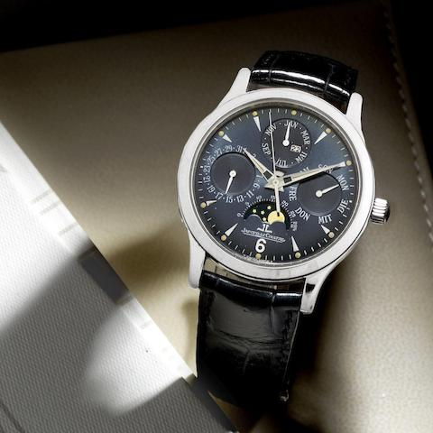 A limited edition platinum automatic perpetual calendar wristwatch with moon phase
