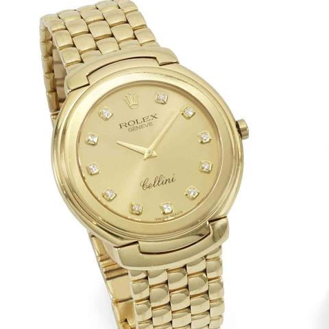 Rolex. An 18K gold and diamond quartz bracelet watch