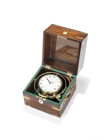 A second quarter of the 19th century mahogany one day marine chronomter