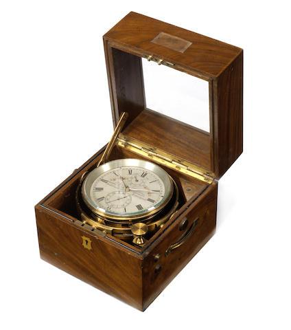 A good early 20th century mahogany cased two-day marine chronometer