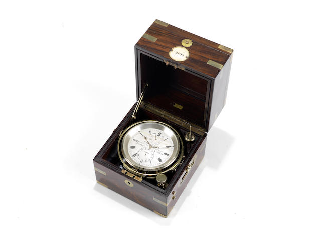 A LATE 19TH CENTURY ROSEWOOD TWO DAY MARINE CHRONOMETER
