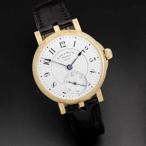 Lang & Heyne, Dresden. An 18K rose gold manual wind wristwatch