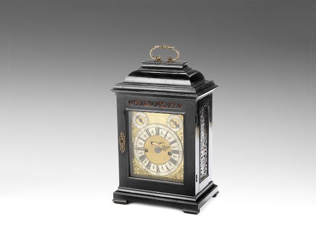 late 17th/early 18th century ebony veneered quarter repeating table clock