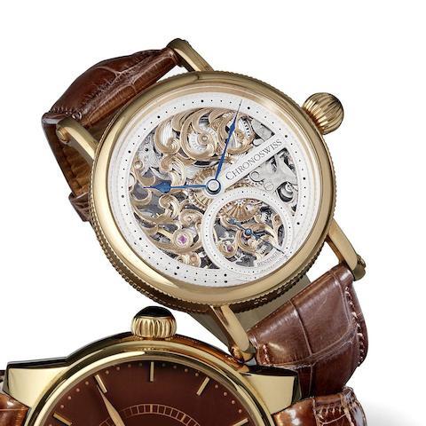 Chronoswiss. An unusual 18K rose gold manual wind skeletonised wristwatch