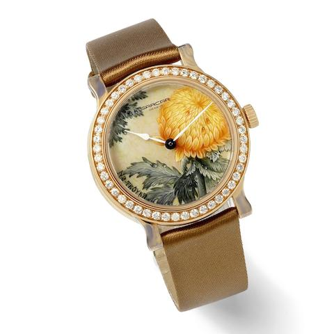Sarcar. A mid size 18K rose gold and dimond set manual wind wristwatch with hand painted dial