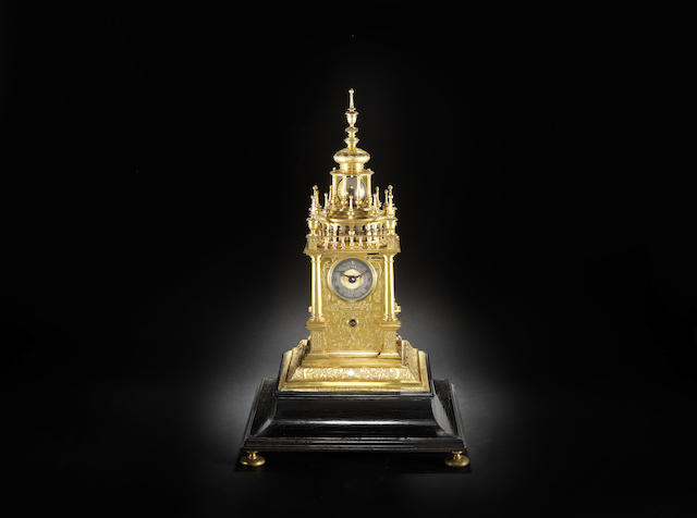 An extremely rare mid 17th century gilt brass and copper 'turmchenuhr' of six month duration